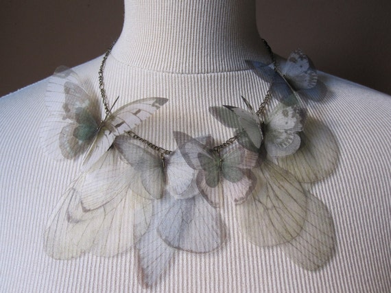 I Will Fly Away - Blue, Green and Seafoam Butterflies Necklace - Made to Order