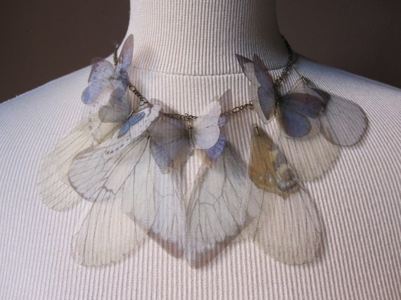I Will Fly Away - Violet Vanessa (Inachis IO) Organza Butterflies and Wings Necklace - Made to Order