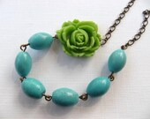 RESERVED Handmade Necklace Green Rose and Turquoise Stone