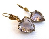 Vintage Light Pink Jewel Glass Heart and Brass Earrings