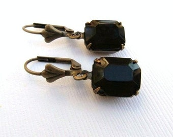 Vintage Black Opaque Jewel Glass Rectangle and Brass Earrings