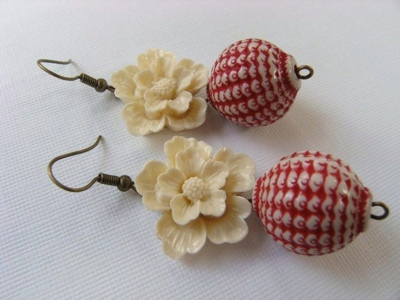 Earrings Ivory Cherry Blossom and Chinese Lanterns