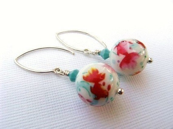 Earrings Koi Fish Pond and Sterling