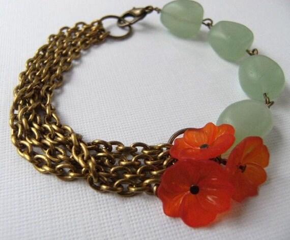 Reserved Honeydew green Glass Nugget and Cantaloupe orange Flower Bracelet