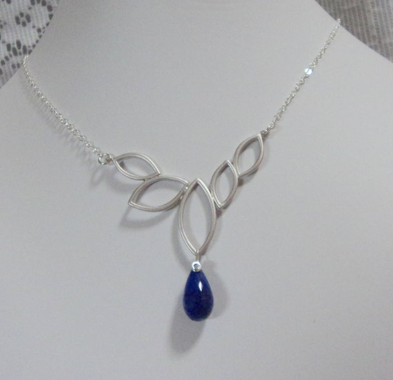 Necklace 5 Open Leaf Matte Rhodium and Sterling Silver with Lapis