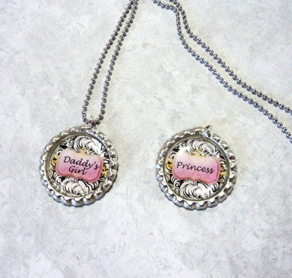 Necklace Bottlecap Girls Pink Black Princess or Daddys Girl