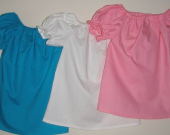 peasant tunic top assorted colors short sleeve, cotton fabric  18 months, 2t,3t,4t,5t,6,7,8,9,10