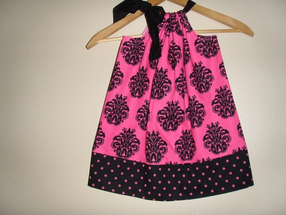 damask pillowcase Hot Pink and black  dress (sizes xsmall to medium)