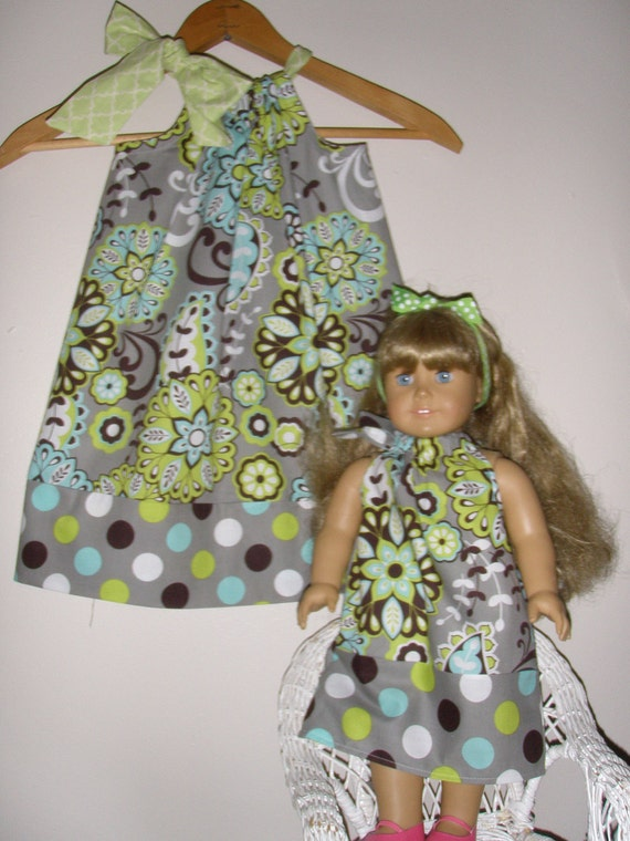 on Sale Normally 19.99 now 16.99 Pillowcase dress matching 18 inch doll dress pillowcase dress Teal paisley (available in xsmall to medium )