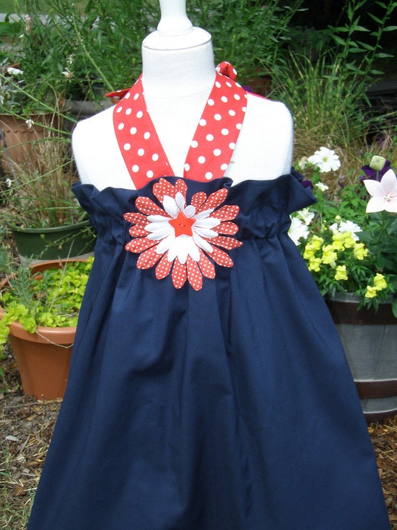 Navy Halter dress with red polka dots(xs,s,medium)
