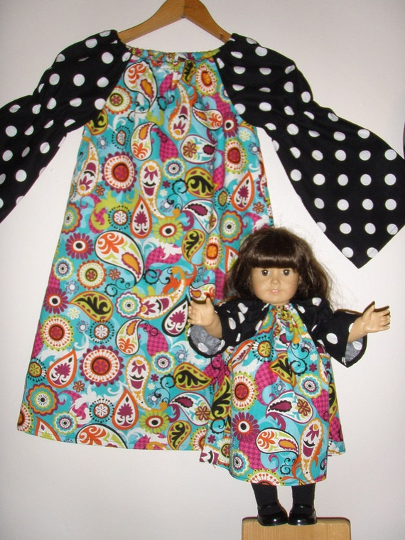 Paisley  Peasant tunic dress matching American Girl  doll dress  ( sizes  1, 2, 3 or 4))