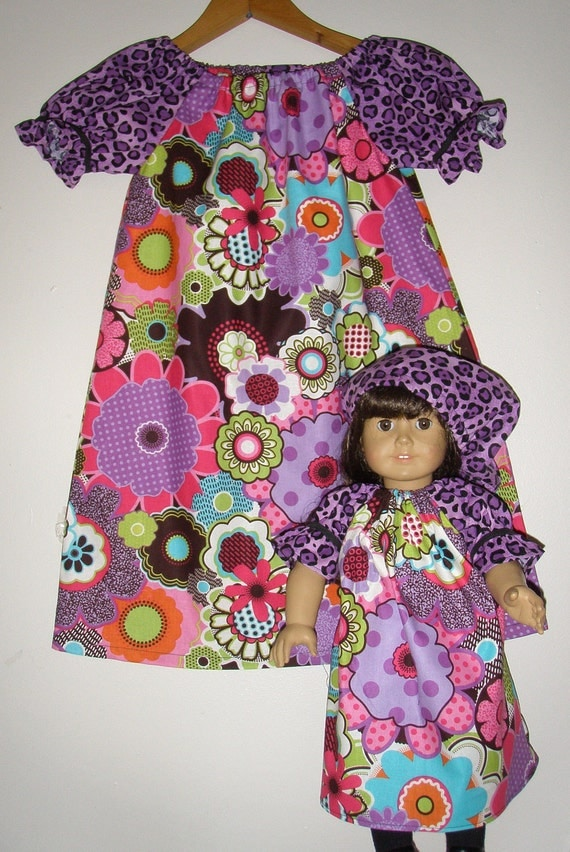 Purple floral and leopard print  short sleeve tunic dress with  matching American Girl  doll dress  (available in sizes 5  to 6)