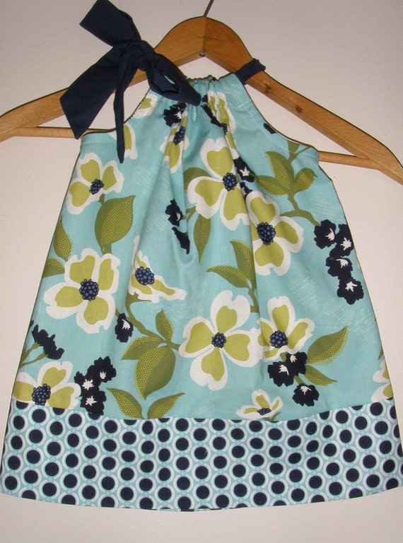 on Sale 15.29 Normally 17.99 Joel Dewberry Dogwood in Pond   girls  pillowcase dress (sizes large to xlarge)