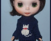 Blythe White Cat Wool Sweater