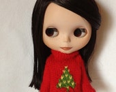 Blythe Wool Red Sweater with Chritsmas tree