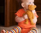 Crawler Covers Baby Leg Warmers---Gray, Purple and Orange Thin Striped--Always Ships Within 24 Hours OR LESS