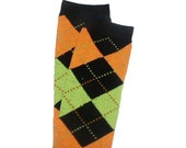 Crawler Covers Baby Toddler Leg Warmers---Black, Orange and Lime Green Argyle