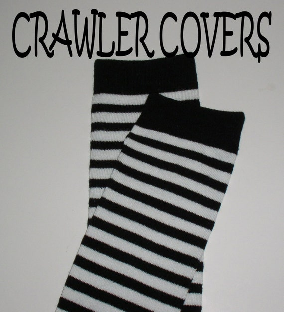 Crawler Covers Baby Leg Warmers---Classic Stripes---Great for Boys or Girls