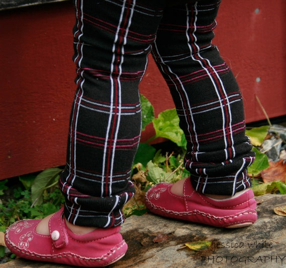 Crawler Covers Baby Leg Warmers--Black, Cherry Red, Pink and White Plaid