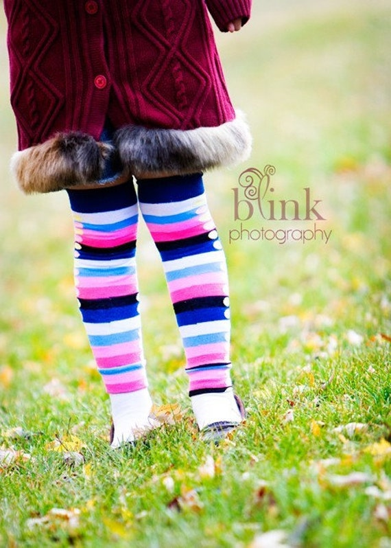 Crawler Covers Baby Toddler Leg Warmers---Blue and Pink Stripes and Dots