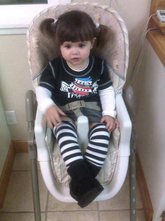 Crawler Covers Baby Toddler Leg Warmers---Black and White Rugby Striped