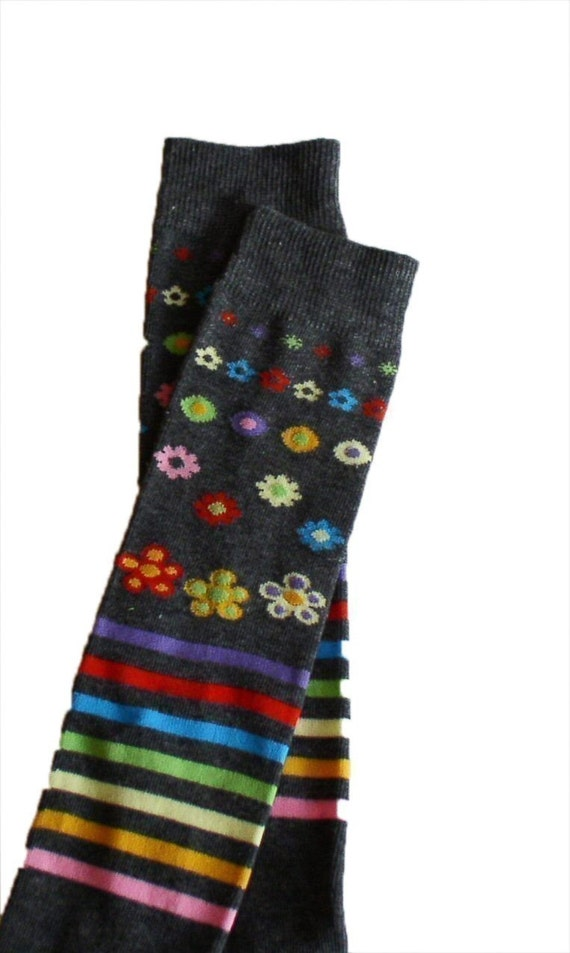 Crawler Covers Baby Toddler Leg Warmers---Gray with Colorful Flowers