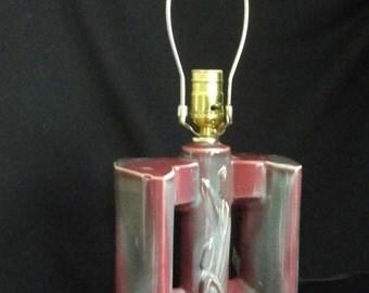 Vintage ceramic lamp base red violet color with cattail design 1950s