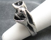 Sterling Brutalist Ring  Tall Handcast Modernist Abstract Jewelry R2185