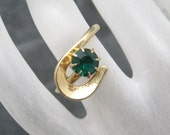 Vintage  Rhinestone Ring Modernist Jewelry Green R3025