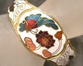 RESERVED Cloisonne Enamel Butterfly Clamper Bracelet B3204