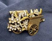 Vintage Brooch BSK Flower Cart Pin My Fair Lady Series P3224