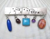Navajo Sterling Bar Brooch Nakai Gemstones Vintage Jewelry  P3367