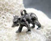 Sterling Charm Grizzly Bear Vintage Charm  C3405