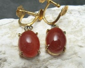 Vintage Earrings Carnelian Drops 1940s E3849