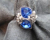 Vintage Heart Ring Love Story Blue Coventry Jewelry R4017