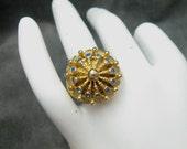 Vintage Blue Rhinestone Ring Chunky R4196