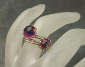 Vintage Bypass Ring Prism Jewelry Faceted Crystal R4526