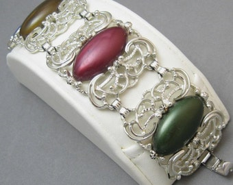 Vintage Bracelet Wide Filigree Colorful Coventry Jewelry B1250