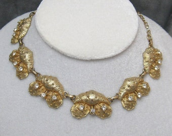 Vintage Rhinestone Necklace Unusual Jewelry  N2110