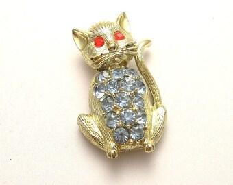 Vintage Blue Rhinestone Kitty Cat Pin Jewelry P3023