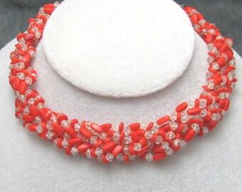 Red Glass Choker Braided N3317