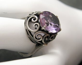 Vintage Sterling Ring Tall Purple Jewelry R3514