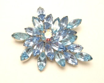 Blue Rhinestone Brooch Abstract Large Vintage Jewelry  P3655