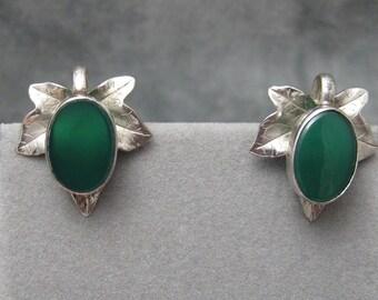 Sterling Leaf Earrings Chrysophrase Vintage Jewelry Carl Art E3922