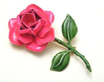 Vintage large Pink Rose Brooch Original by Robert Flower Jewelry P4211