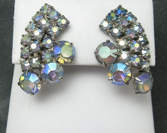 Stunning Rhinestone Earrings Blue AB E4506