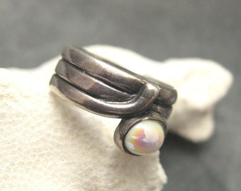 Wide Sterling Ring Unique Coil Jewelry Vintage Ring R4542