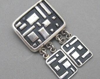 Vintage Sterling Modernist Dangle Pin Handmade Signed P1050
