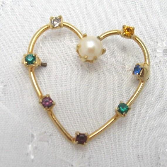 Vintage Heart Pin Rhinestone Dearest P1418