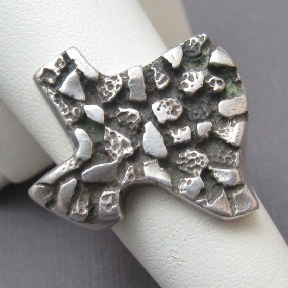 Chunky Sterling Nugget Texas Ring Size 9 1/2 R1703